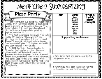 Nonfiction Summarizing Worksheets (no prep)