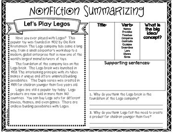 Nonfiction Summarizing Worksheets (no prep) by Speech Time Fun | TpT