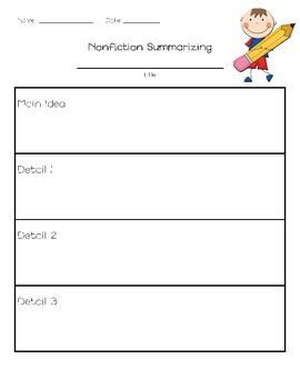 Nonfiction Summarizing and Main Idea Graphic Organizers
