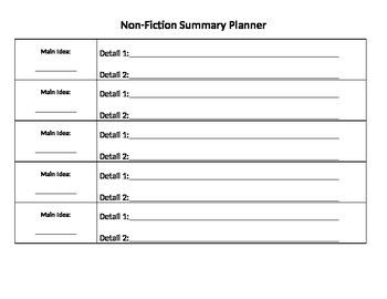 Nonfiction Summary Graphic Organizer