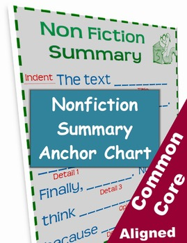 Nonfiction Summary Template Anchor Chart By Classroom Caboodle TpT - Fiction summary template