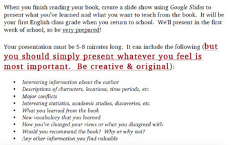 Summer Reading Assignment- Nonfiction (WORD DOC)