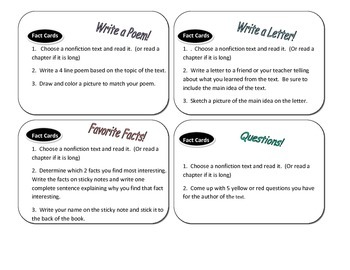 Nonfiction Task Cards