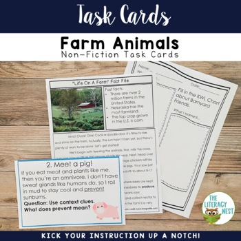 April Centers Farm Animals Nonfiction Task Cards
