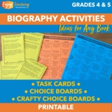 Biography Choice Boards and Cards for CCSS and Higher Orde