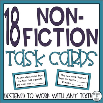 Nonfiction Task Cards - Reading Informational Text - Commo