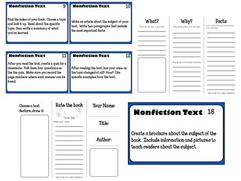 Nonfiction Task Cards for any Informational text -with student response sheets