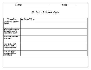 Nonfiction Template -  that can be used for all nonfiction articles