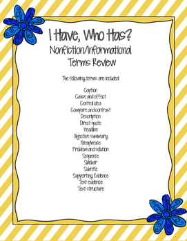 Nonfiction Terms Review: I Have, Who Has?