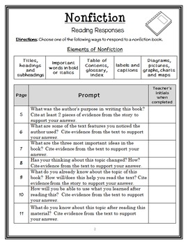 Nonfiction Text Dependent Reading Response Notebook : 30 Common Core Prompts