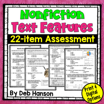 Nonfiction Text Feature Assessment Or Worksheet By Deb Hanson Tpt