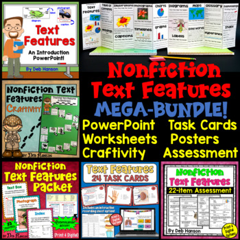 Nonfiction Text Features... a bundle of resources included a PowerPoint, task cards, posters, assessments, activities, and more!