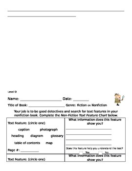 Nonfiction Text Feature Chart