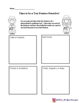 Nonfiction Text Feature Detective Sticky Note Activity