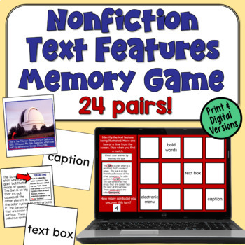 Nonfiction Text Feature Memory Game