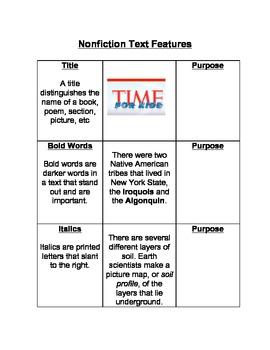 Nonfiction Text Feature Notes