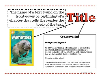 Nonfiction Text Feature Anchor Charts