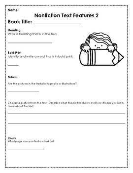 Nonfiction Text Feature Reading Response Sheet
