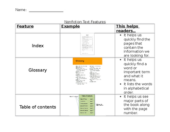 Nonfiction Text Feature Reference Sheet