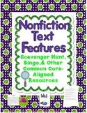 Nonfiction Text Feature Scavenger Hunt, Bingo, Quizzes, & More!