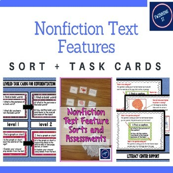 Nonfiction Text Feature: Sort + Task Cards