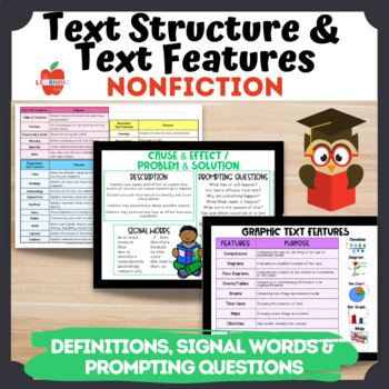 Nonfiction Text Feature & Structure Cards: Signal Words, Prompting Questions
