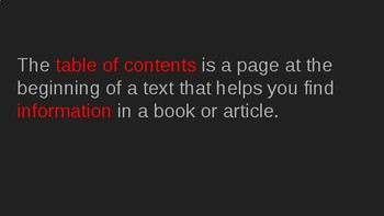 Nonfiction Text Feature: Table of Contents