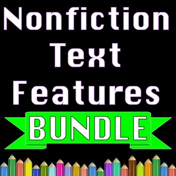 Nonfiction Text Features Reading Comprehension Activities & Writing Worksheets