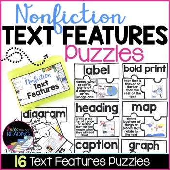 Nonfiction Text Features Activity | 16 Nonfiction Text Features Puzzles