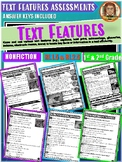 NONFICTION Text Features Assessments | Reading Comprehension 1-2nd Grade RI2.5