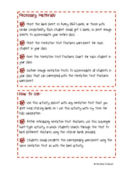 Nonfiction Text Features Autumn Activity Pack