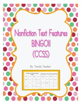 Nonfiction Text Features Bingo Common Core!