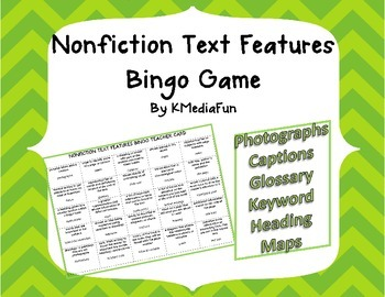 Nonfiction Text Features Bingo by KMediaFun