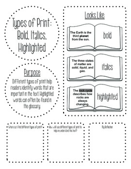 Nonfiction Text Features Book (for intermediate grades)