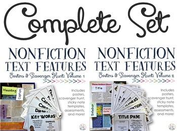 Nonfiction Text Features {COMPLETE SET}: Posters & Scavenger Hunt