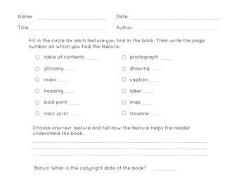 Nonfiction Text Features Checklist