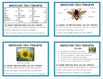 Nonfiction Text Features:Flip Book, 32 Task Cards, Bingo, and 20 Posters