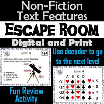 Nonfiction Text Features Escape Room - ELA