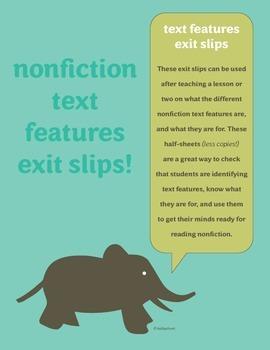 Nonfiction Text Features Exit Slips