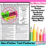 Nonfiction Text Features Activity: (word search, reading facts)