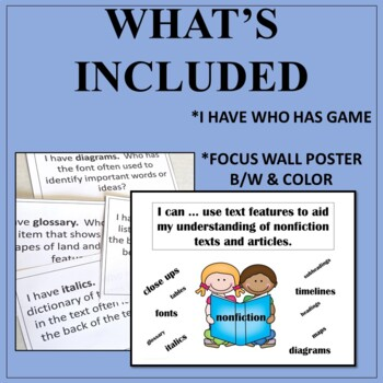 Nonfiction Text Features Game: I Have Who Has