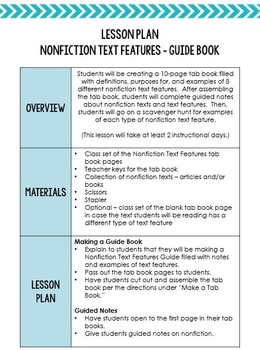 Nonfiction Text Features Guide Book:  Any Informational Text