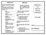 Nonfiction Text Features  Homework Trifold