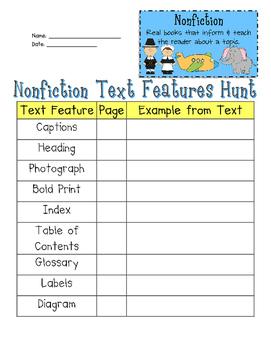 Nonfiction Text Features Hunt