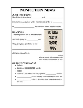 Nonfiction Text Features Journal Entry