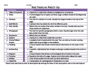 Nonfiction Text Features Match Up