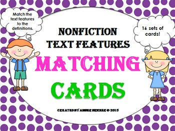 Nonfiction Text Features Matching Cards