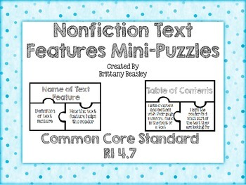RI 4.7 Nonfiction Text Features Mini-Puzzles
