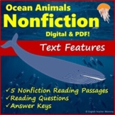 Ocean Nonfiction Text Features Passages and Worksheets - Printable & Digital