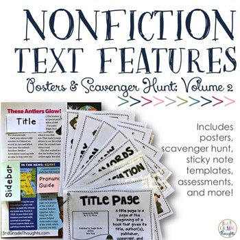 Nonfiction Text Features {PART 2}: Posters & Scavenger Hunt